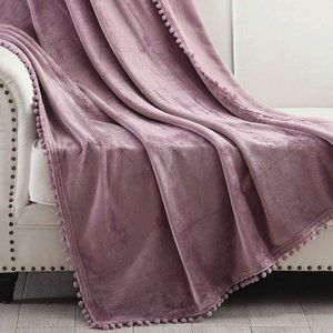 NWOT Throw Blanket with Pompom Fringe